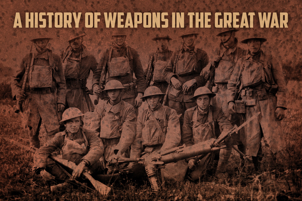 photo of world war one soldiers holding weapons used in the great war