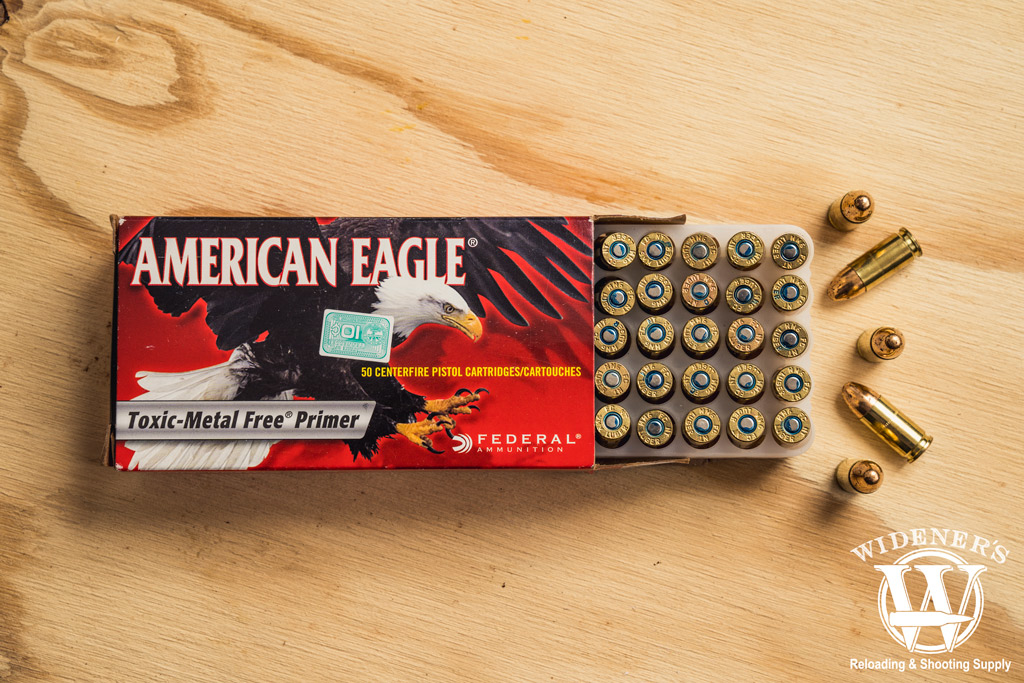 photo of federal american eagle toxic metal free primer 9mm ammo on plywood