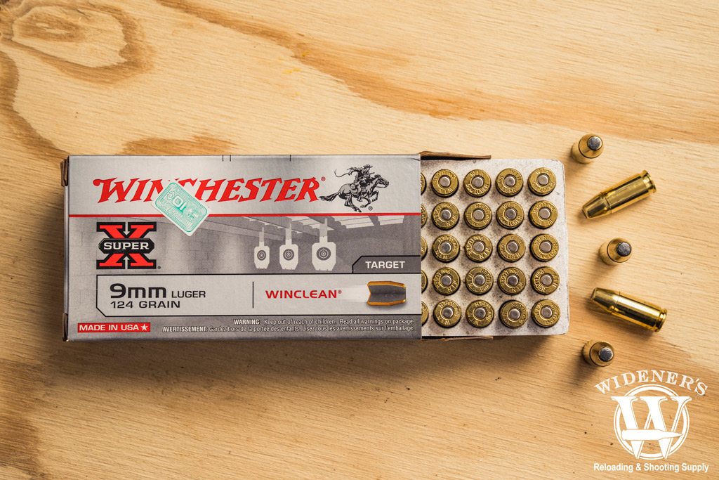photo of winchester winclean beb 9mm ammo on plywood