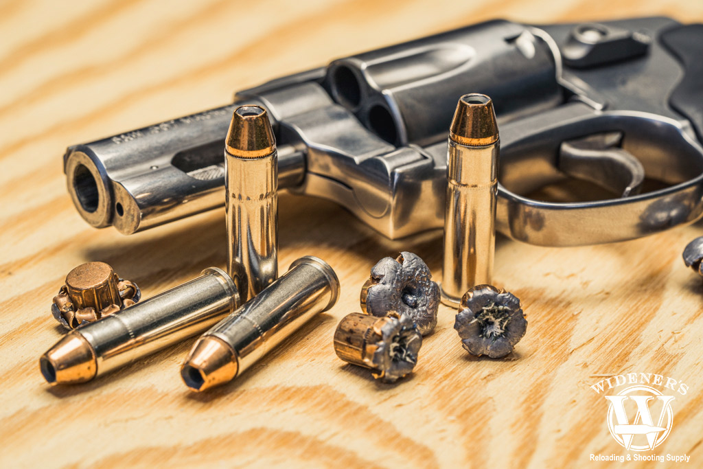a photo of a 357 magnum revolver with jhp ammo