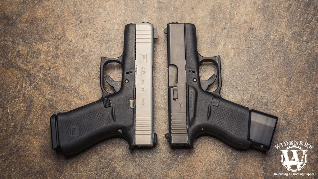 A photo of the glock 43 and 43x side by side on a ceramic tile