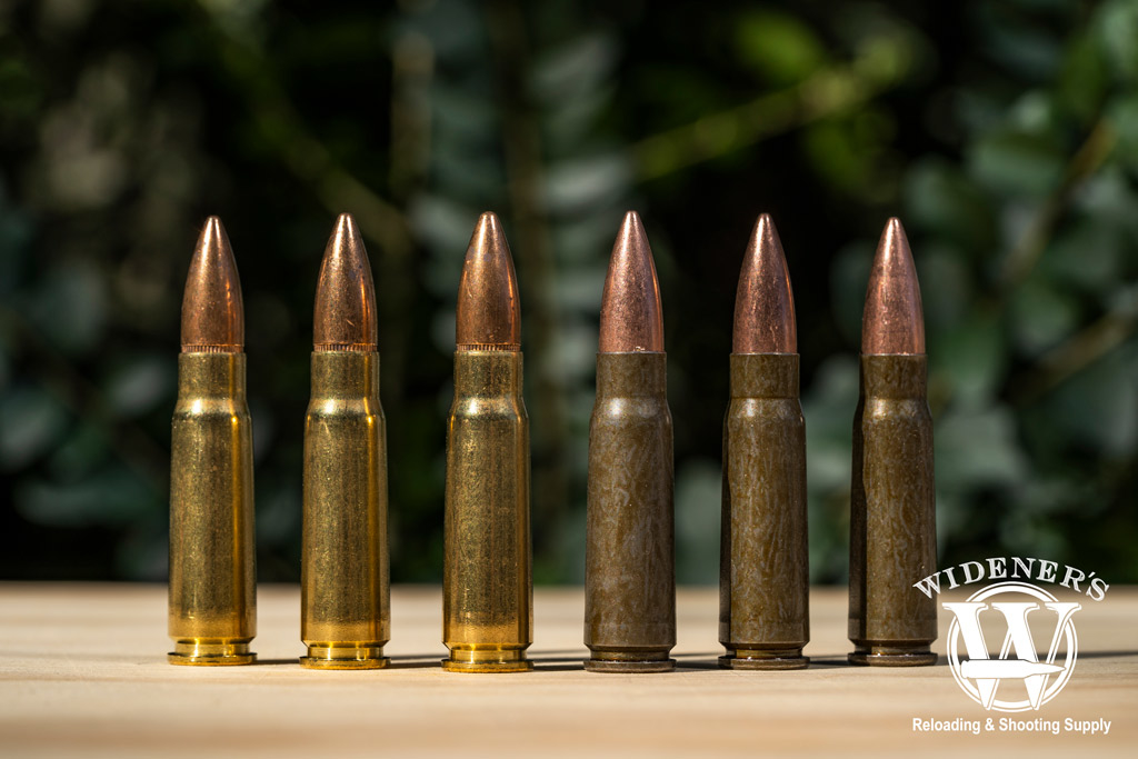 photo of brass 7.62x39 ammo compared to steel 7.62x39 ammo