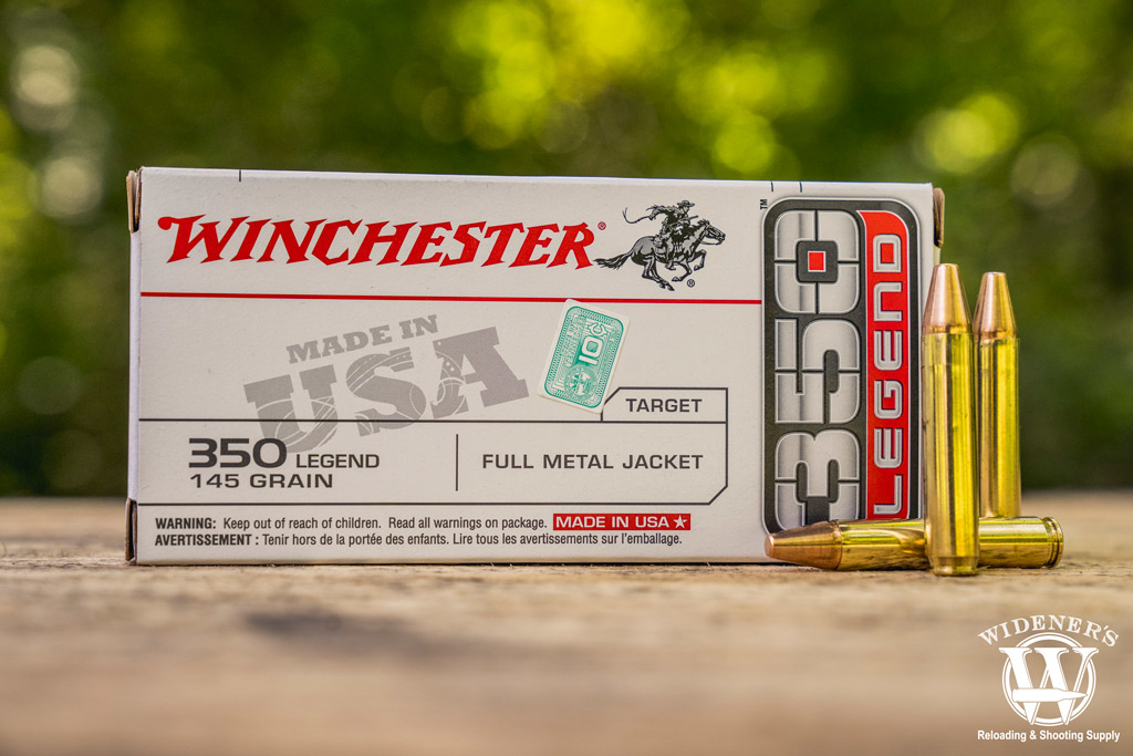 a photo of winchester 145gr FMJ 350 legend ammo outdoors