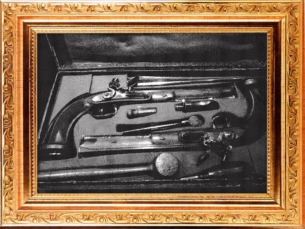 Engraving of dueling pistols