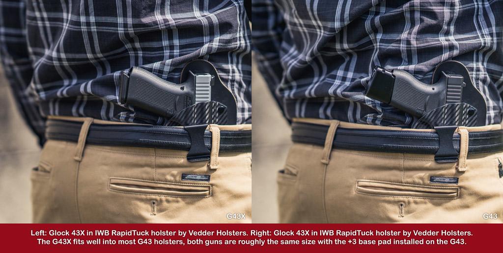a photo of a man wearing a glock 43 vs 43X pistol iwb holster