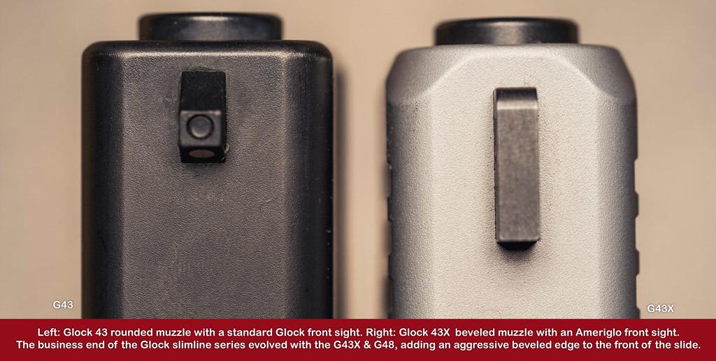 a comparison of the muzzle and barrel of the glock 43 vs 43x pistols