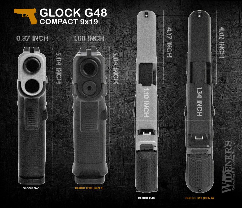 Glock's New G43X and G48 Pistols vs  The Glock 43 and Glock 19