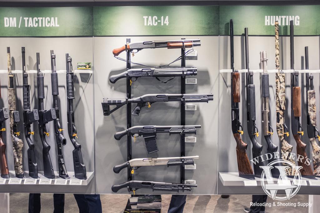 photo of The Remington 870 and Tac-14 shotgun lineup at SHOT Show 2019
