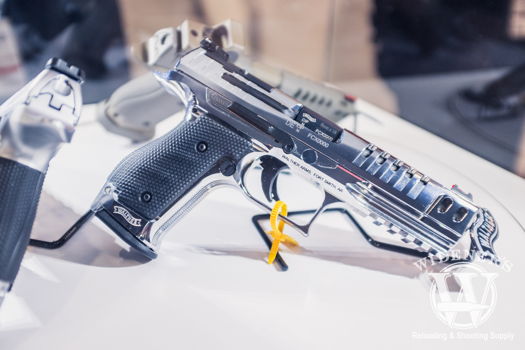 photo of a chrome steel frame Walther Q5 Match pistol at shot show 2019