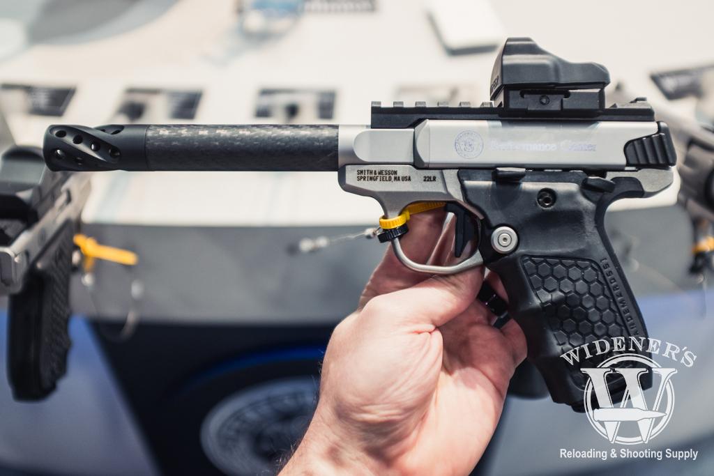 photo of Smith & Wesson SW22 Performance Center rimfire pistol with carbon fiber barrel option