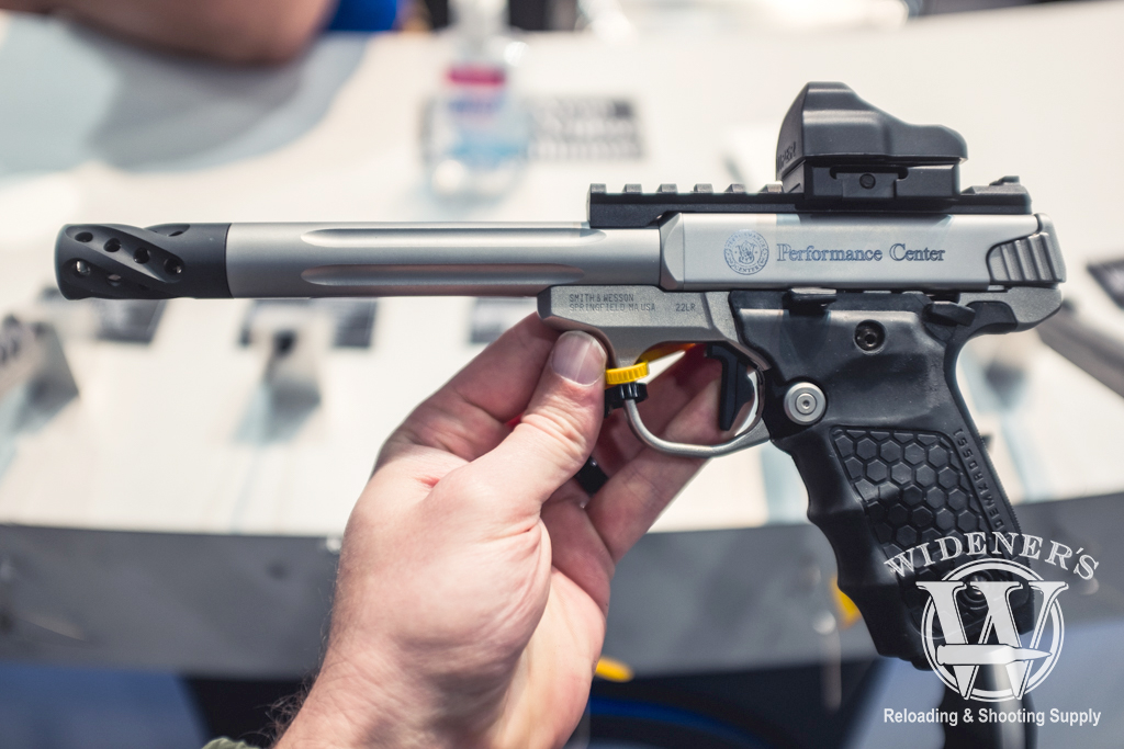 photo of Smith & Wesson SW22 Performance Center rimfire pistol with fluted stainless-steel barrel option.