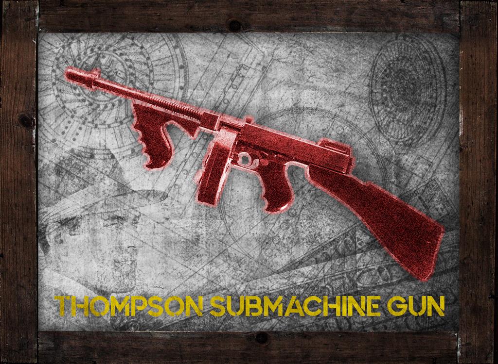 a photo of a 45 acp thompson submachine gun machine gun kelly gangster guns