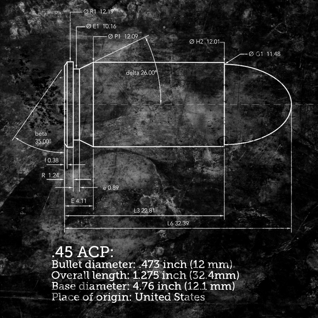 photo of blue print of 45 acp bullet