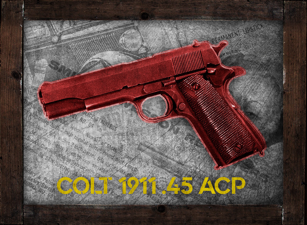a photo of a colt 1911 45 acp pistol guns of bonnie and clyde