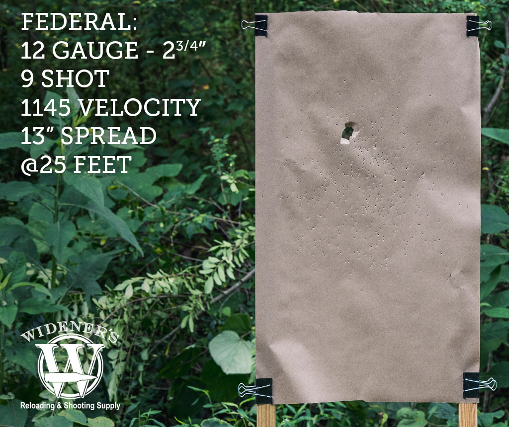 photo of shotgun target shot with Federal 12 Gauge 2-3/4 Inch Shell, 9 Shot, 1145 Velocity, Shot At 25 Feet.