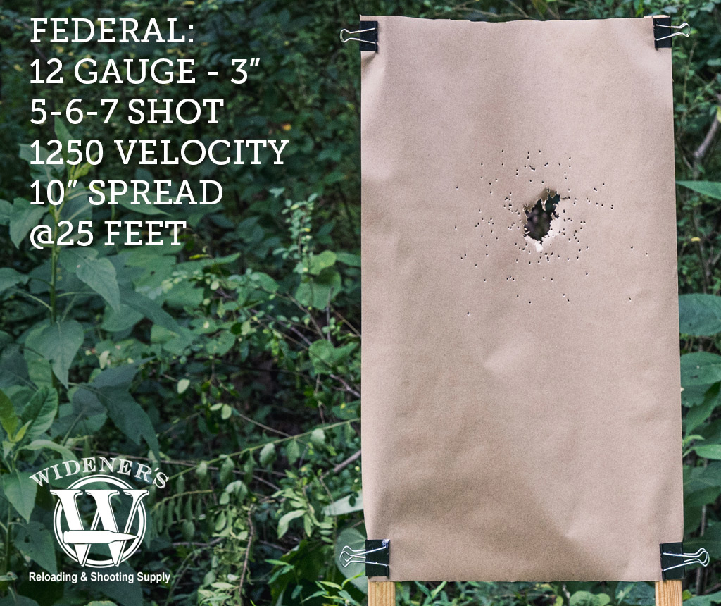 photo of 12 gauge shotgun target shot by Federal 12 Gauge 3-Inch Shell, 5-6-7-Shot, 1250 Velocity, Shot At 25 Feet.