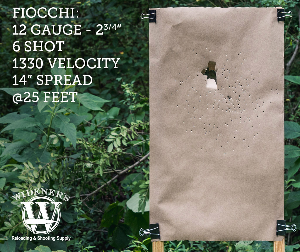 photo of 12 gauge shotgun target shot with Fiocchi 12 Gauge 2-3/4 Inch Shell, 6-Shot, 1330 Velocity, Shot At 25 Feet.
