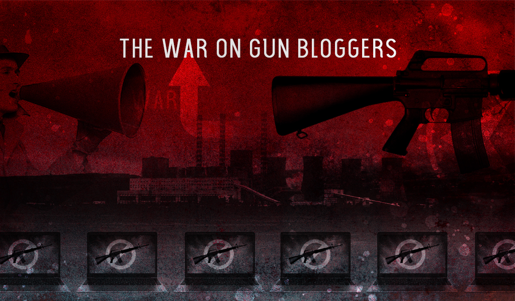an illustration visually depicting the war on gun bloggers