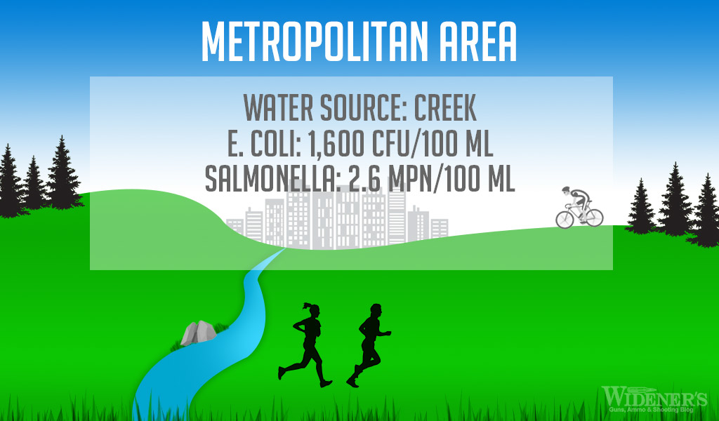 A graphic showing a stream running through a metropolitan area