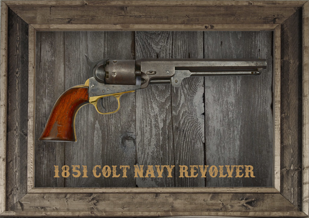 photo of the 1851 Colt Navy Revolver in a frame