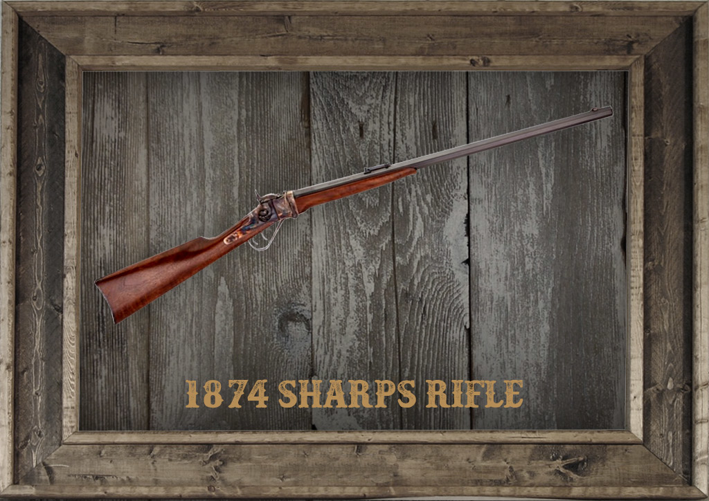 photo of the 1874 sharps rifle in a frame