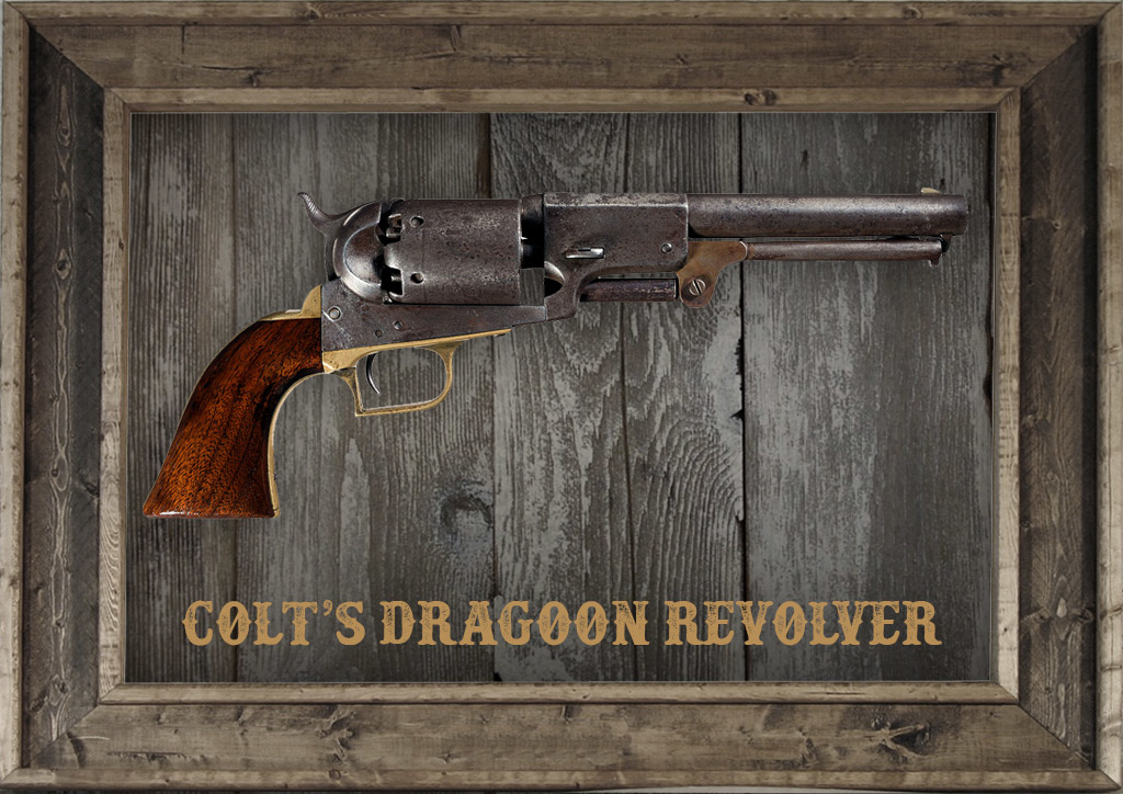 photo of Colt's Dragoon Revolver in a frame