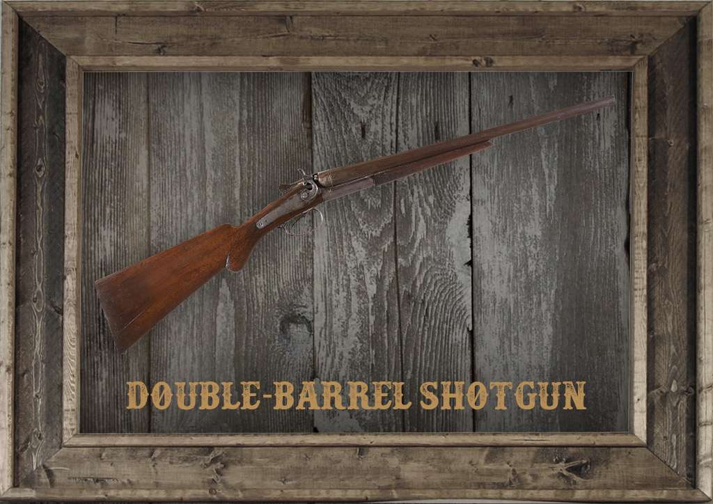 photo of a Double-Barrel Shotgun in a frame